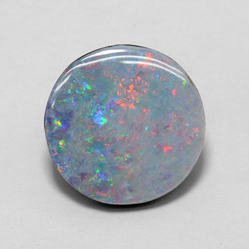 4.48 ct Round Cabochon Multicolor Opal Doublet Gemstone 13.17 mm  (Product ID: 505379)