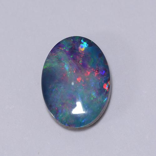 Multicolor Opal Doublet Gem - 0.6ct Oval Cabochon (ID: 510671)