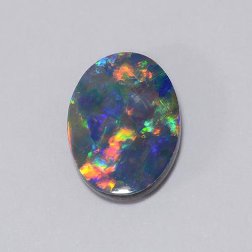 Multicolor Opal Doublet Gem - 0.9ct Oval Cabochon (ID: 510676)
