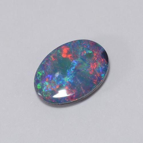 Multicolor Opal Doublet Gem - 0.6ct Oval Cabochon (ID: 510677)