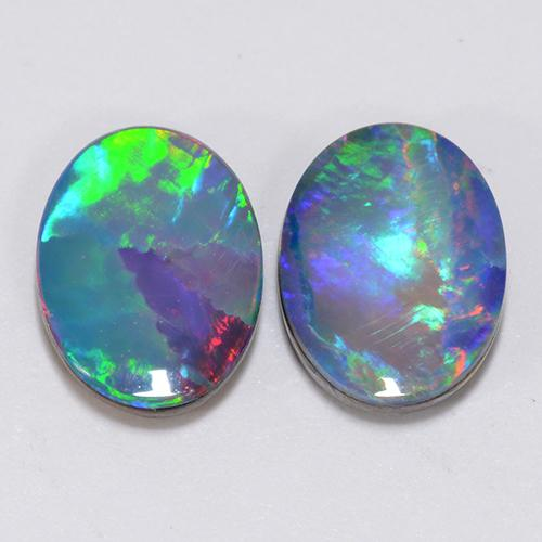 Multicolor Opal Doublet Gem - 1ct Oval Cabochon (ID: 510697)