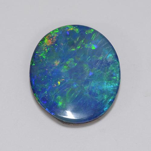 4.16 ct Oval Cabochon Multicolor Opal Doublet Gemstone 14.34 mm x 12.3 mm (Product ID: 510713)