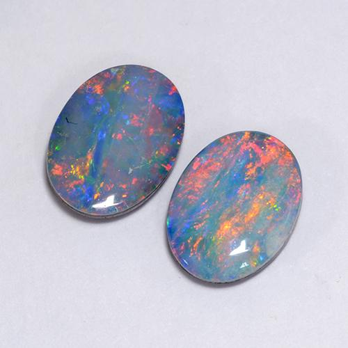 Multicolor Opal Doublet Gem - 1ct Oval Cabochon (ID: 510741)