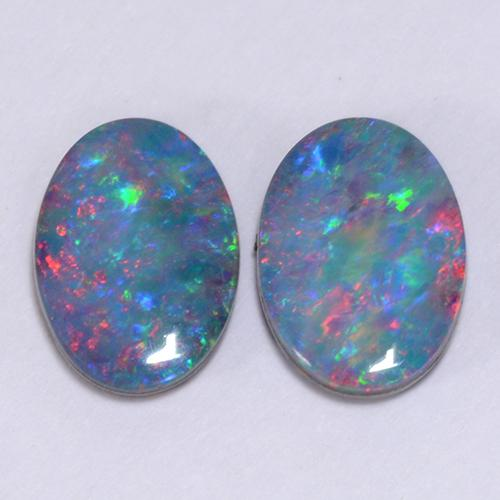 Multicolor Opal Doublet Gem - 0.6ct Oval Cabochon (ID: 510744)