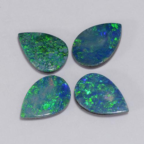 Multicolor Opal Doublet Gem - 0.3ct Pear Cabochon (ID: 510746)