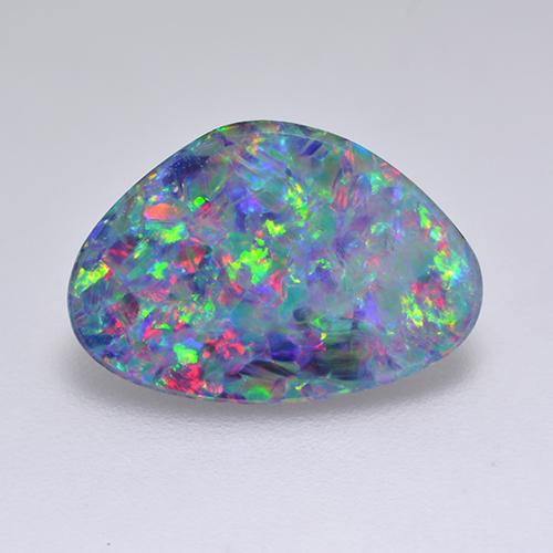 Multicolor Opal Doublet Gem - 2.9ct Fancy Cabochon (ID: 515813)