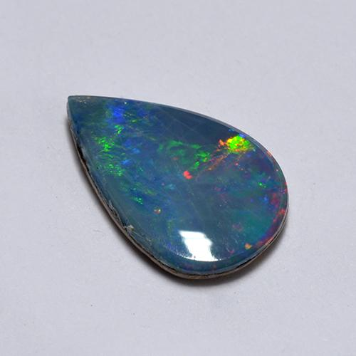 Multicolor Opal Doublet Gem - 0.7ct Pear Cabochon (ID: 516725)