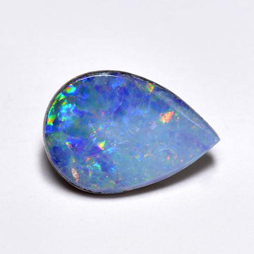 Multicolor Opal Doublet Gem - 1.3ct Pear Cabochon (ID: 517008)