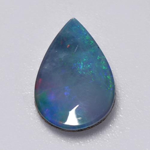 Multicolor Opal Doublet Gem - 0.8ct Pear Cabochon (ID: 517589)