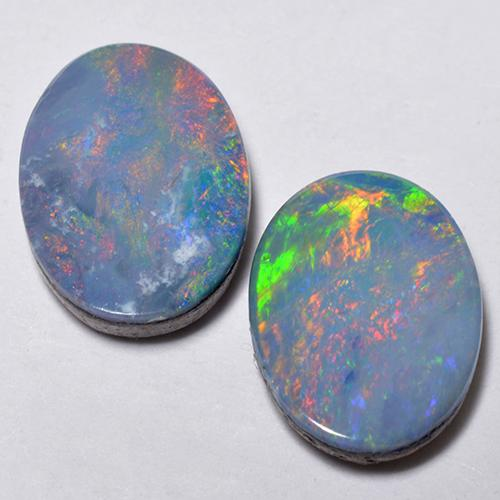 Multicolor Opal Doublet Gem - 0.9ct Oval Cabochon (ID: 518657)