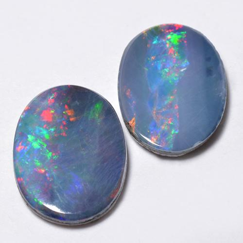 Multicolor Opal Doublet Gem - 0.8ct Oval Cabochon (ID: 518658)