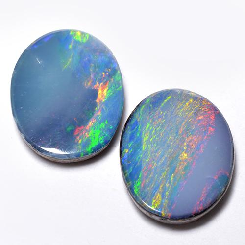 Multicolor Opal Doublet Gem - 1.3ct Oval Cabochon (ID: 518661)