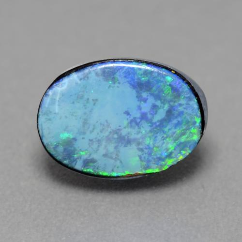 Multicolor Opal Doublet Gem - 1.3ct Oval Cabochon (ID: 542874)