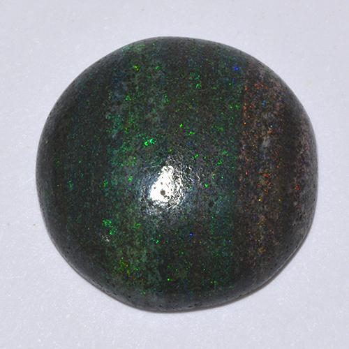 Multicolor Opal in Matrix Gem - 9ct Round Cabochon (ID: 513277)