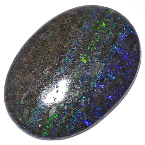 Multicolor Opal in Matrix Gem - 41.1ct Oval Cabochon (ID: 513288)