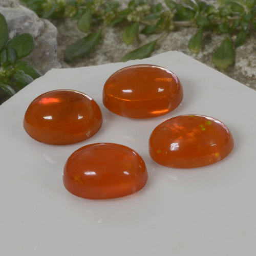 1ct Ovale Cabochon Fire Orange Opale gemme (ID: 368943)