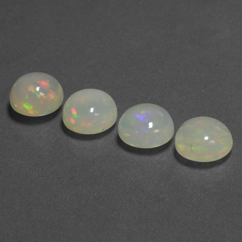 1.27 ct Round Cabochon Multicolor Opal Gemstone 7.93 mm  (Product ID: 466427)