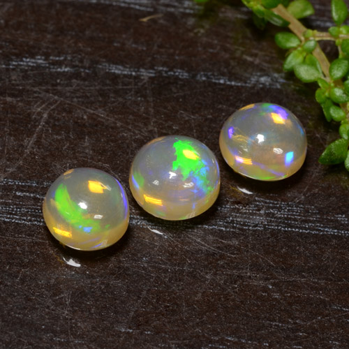 Yellow Opal Gem - 0.6ct Round Cabochon (ID: 477314)