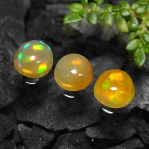 Yellow Opal Gem - 0.4ct Round Cabochon (ID: 477347)