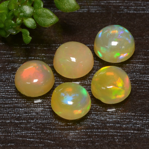 Yellow Opal Gem - 0.4ct Round Cabochon (ID: 477504)