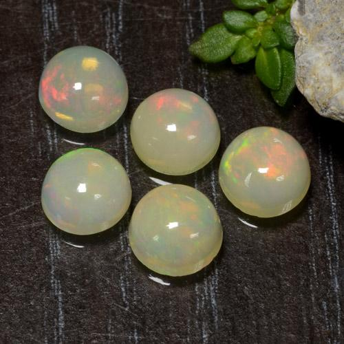 Yellow Opal Gem - 0.6ct Round Cabochon (ID: 477508)