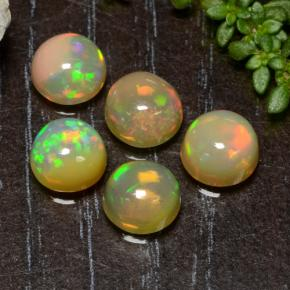 Yellow Opal Gem - 0.7ct Round Cabochon (ID: 477514)