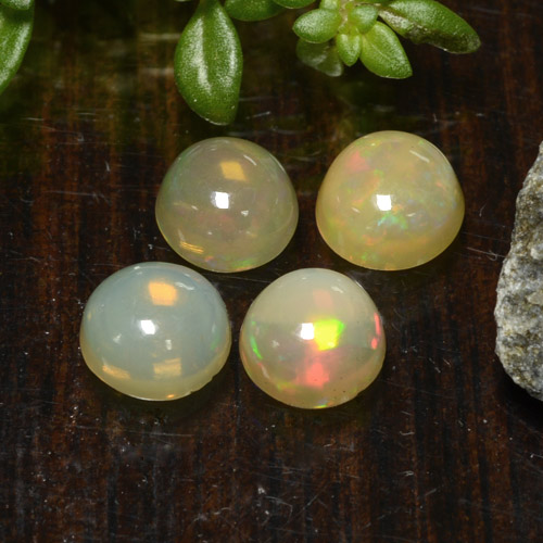 Yellow Opal Gem - 0.4ct Round Cabochon (ID: 477545)