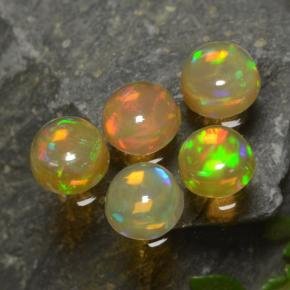 Yellow Opal Gem - 0.3ct Round Cabochon (ID: 477576)