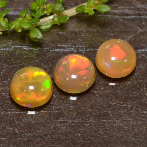 Yellow Opal Gem - 0.6ct Round Cabochon (ID: 478457)