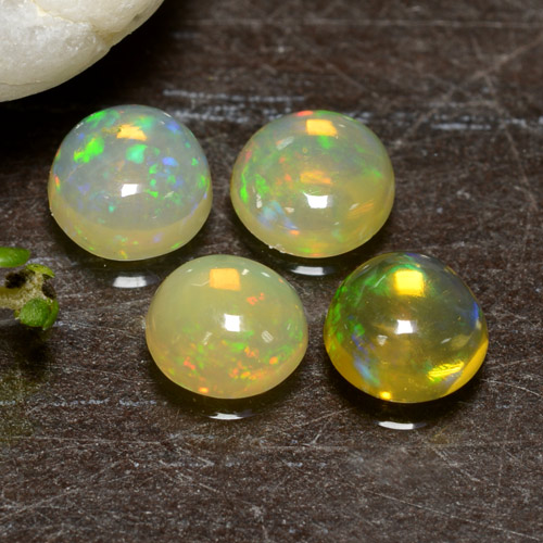 Yellow Opal Gem - 0.3ct Round Cabochon (ID: 478464)