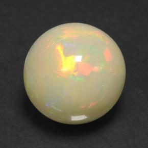 6.80 ct Round Cabochon Multicolor White Opal Gemstone 15.56 mm  (Product ID: 503151)