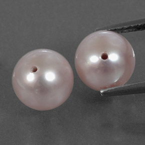 Silver Pink Pearl Gem - 2.9ct Half-Drilled Sphere (ID: 331725)