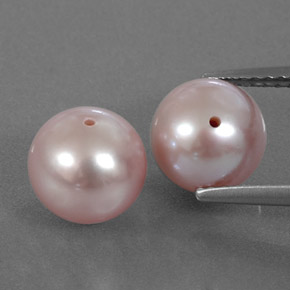 Silver Pink Pearl Gem - 3.3ct Drilled Sphere (ID: 334470)