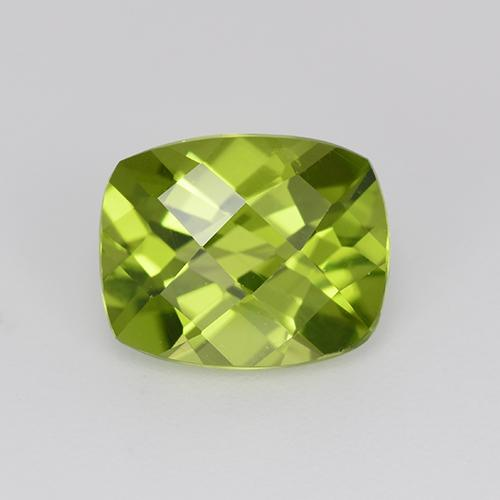 Light Lively Green Peridot Gem - 2.9ct Cushion Checkerboard (ID: 332292)