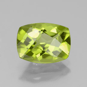 Yellowish Green Peridot Gem - 2.3ct Cushion Checkerboard (ID: 333946)