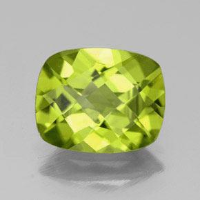 Yellowish Green Peridot Gem - 2.7ct Cushion Checkerboard (ID: 333949)