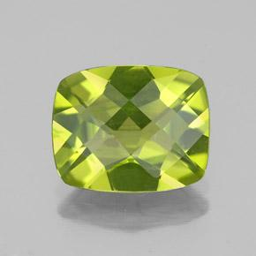Yellowish Green Peridot Gem - 2.8ct Cushion Checkerboard (ID: 334155)