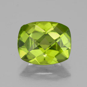 Lively Green Peridot Gem - 2.6ct Cushion Checkerboard (ID: 334156)