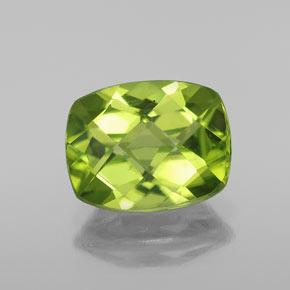 Lively Green Peridot Gem - 3ct Cushion Checkerboard (ID: 334344)