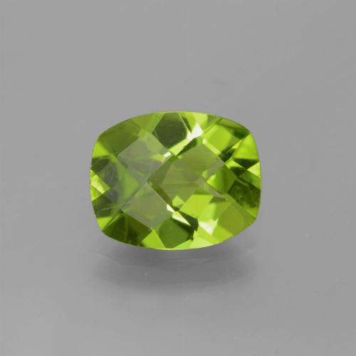 Lively Green Peridot Gem - 2.5ct Cushion Checkerboard (ID: 334357)