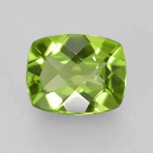 Medium Green Peridot Gem - 2.7ct Cushion Checkerboard (ID: 334363)