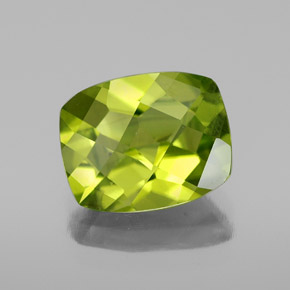 Yellowish Green Peridot Gem - 2.6ct Cushion Checkerboard (ID: 334423)
