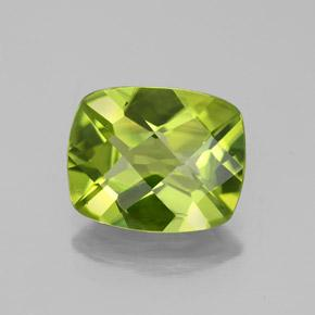 Medium Green Peridot Gem - 2.7ct Cushion Checkerboard (ID: 335749)