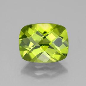 Lively Green Peridot Gem - 2.8ct Cushion Checkerboard (ID: 335752)