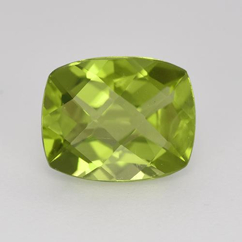 Medium Green Peridot Gem - 3.1ct Cushion Checkerboard (ID: 350294)