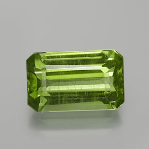 4.04 ct Octagon Facet Lively Green Peridot Gemstone 12.01 mm x 7.4 mm (Product ID: 369235)