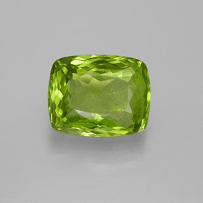 Lively Green Peridot Gem - 5.1ct Cushion-Cut (ID: 371811)