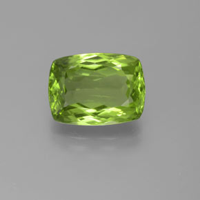 Lively Green Peridot Gem - 5.4ct Cushion-Cut (ID: 372071)
