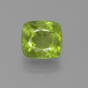 7.44 ct Cushion-Cut Lively Green Peridot Gemstone 11.54 mm x 10.8 mm (Product ID: 372072)
