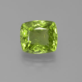 5.44 ct Cushion-Cut Lively Green Peridot Gemstone 10.45 mm x 9.4 mm (Product ID: 372073)